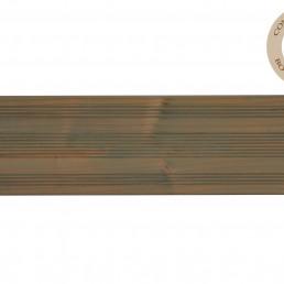 lame de terrasse avec une face lisse et une face striée, angles arrondis.Saturée en usine 1 couche sur le contre-parement et 2 couches sur le parement