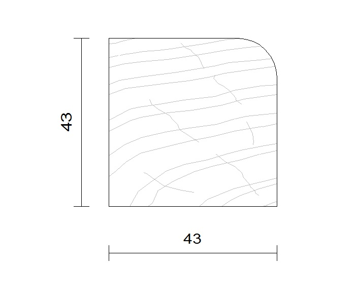 tasseau bois brut douglas 43x43