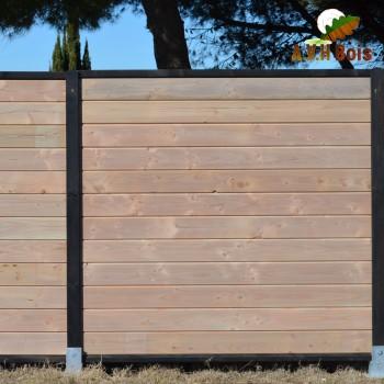 palissade en bois douglas saturée gris vieux bois et ebene