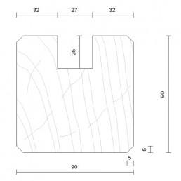 poteau de départ saturé douglas 90 x 90 mm